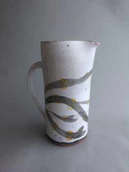 Salt white tall jug with black bladderwrack illustration