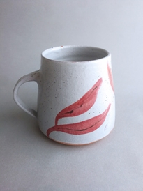 salt white mug with pink seaweed frond illustration
